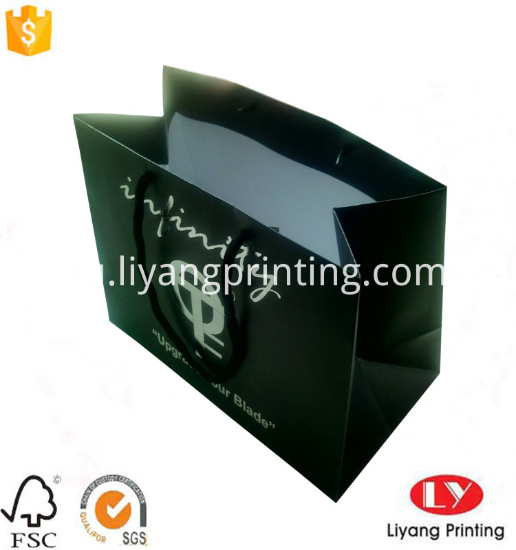 paper bag with silver logo