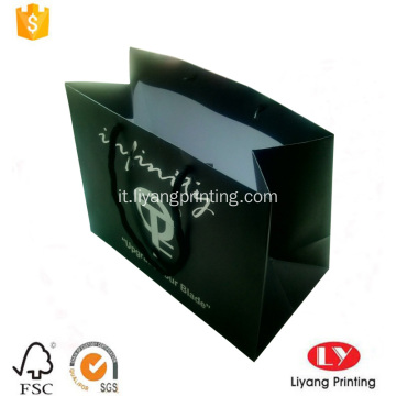 Borsa shopping in carta nera con logo argento