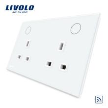 Livolo Blanc / Noir 13A Double UK Socket avec fonction à distance VL-W2C2UKR-11