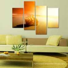 Sunset Beach Landscape Painting 4panel for Living Room