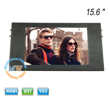 Top mounting TFT color 15.6 inch LCD monitor bus with DVI VGA HDMI input