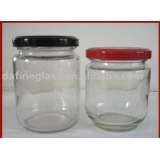 round shape preserved pickle food glass jar with metal cover cap