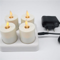 Wholesale set of 6 dancing flame luminara rechargeable tea light candles