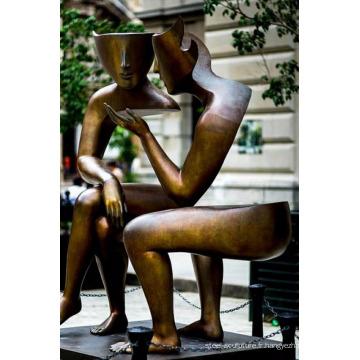 Grandes sculptures d'artisanat en métal cuivre extérieur abstrait moderne pour la maison