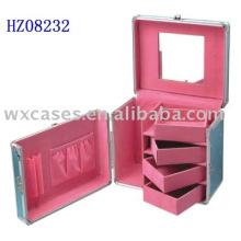 caso de estilista de pelo de aluminio con 4 bandejas extraíbles y un espejo interior