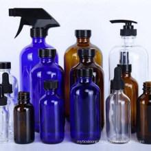 Amber Blue Transparent Boston Glass Bottle 500ml 300ml with Dispenser Pump Spray Screw Caps