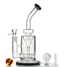 Saucer Perc Incycler Black Hookah Glass Smoking Water Pipes (ES-GB-365)
