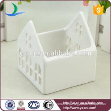 Weiße Keramik kleine Häuser Kerzenhalter Großhandel
