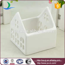 White ceramic small houses candleholder wholesale