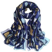 Moda lenço de seda impresso mulheres moda lenço de seda personalizado quadrado grande