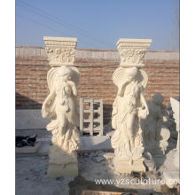 A Pair Of Marble Column With Figure Statue