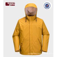 High quality outdoor waterproof windproof PU yellow raincoat
