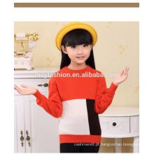 Combinação de cores de pescoço infantil O colarinho solto suéter design de camisola de caxemira para menina