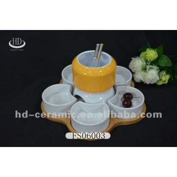 ceramic chocolate fondue set with bamboo tray