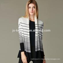 JS-16001 avec des bandes ouvertes devant 100% manteau de cardigan en cachemire femmes