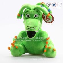 Venta al por mayor juguetes de peluche de dinosaurio de felpa suave y dinosaurio verde de felpa