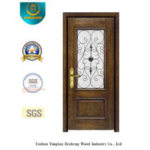 Porta de segurança estilo europeu com vidro e ferro (B-9013)