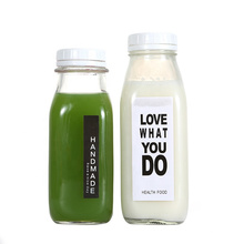 Hot sale 10oz 16oz square bottle glass for juice glass fruit juice bottle