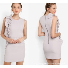 Round Neckline Grey Ruffle Shift Dress