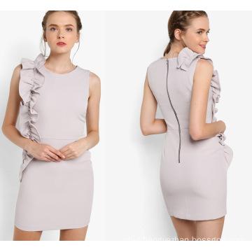 Round Neckline Grey Ruffle Shift Dress
