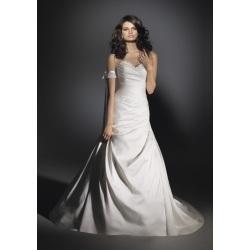 Vestido de novia rebordeado con satén tren trompeta sirena