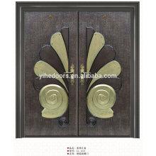 Principais portas de entrada duplas de luxo, porta de entrada de material em aço inoxidável
