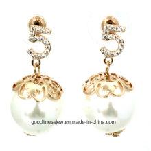 Alta calidad Real 925 pendientes de la manera de la plata esterlina con el pendiente blanco de la perla para la venta al por mayor E6362 de la joyería de las mujeres