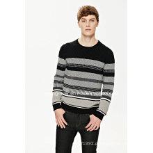 2016new camisola de algodão listrado pulôver para homens