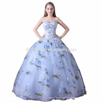 2017 schnelle Lieferung Hochzeitsgesellschaft tragen Ballkleid Frauen Kleid aus Schulter gedruckt Puffy Brautjungfer Kleid Muster Großhandel