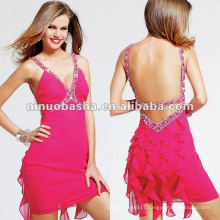 V-neck with Ruffled Back and Beaded Detail Cocktail Dress