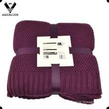 High Quality 100% Acrylic Warm Knitting Blanket Throw