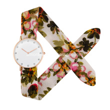 2017 Newest Design Colourful Cotton Fabric Band watch