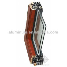 Madeira amostra de perfil de alumínio