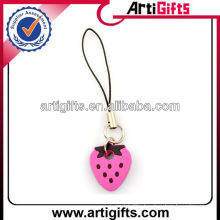 Strawberry shape pvc cell phone strap wholesale