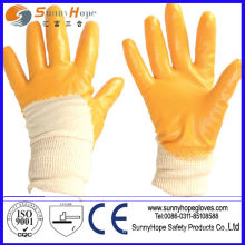 Knit Wrist smooth finish nitrile coated cotton gloves