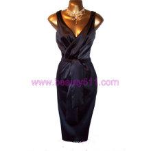 Винтажный 40-х 50-репро Черного Атласа Голливуд покачивание греческий Пелерина платье GP005