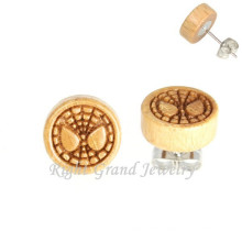 Spiderman Wooden Earrings Surgical Steel Piercing Studs Men Ear Stud