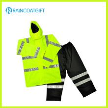 PVC / polyester / PVC Imperméable à l'eau des vêtements de pluie de sécurité avec réfléchissant