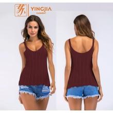 Women's Sexy U-neck Strap Hollow Knit Tank Tops