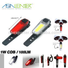 Asia Leader Easy To Install Without Tools Rechargeable COB Bicycle Tail Light
