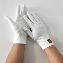 240g White Cotton Gloves with Embroidery