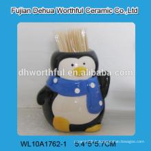 Porte-cure-dents en céramique moderne en forme de pingouin pour gros