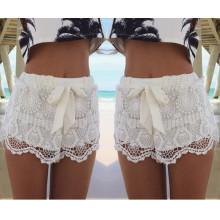 Hot Venda moda Drawstring Bow Mulheres Lace Shorts (50169)