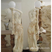Gemischte Farbe Marmor Dame Lampe Statue