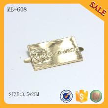 MB608 Bolso de oro insignia etiqueta de encargo troquelado logo de metal
