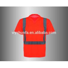 Camiseta de seguridad con cuello en V de alta visibilidad