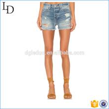 Calças quentes de moda por atacado sexy mini denim rasgado mulheres jeans curtos