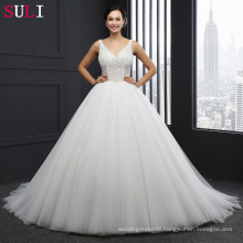 SL-042 Princess Wedding Dress V Neck Zipper Pearls Crystal Ivory Bride Dresses Tulle 2016