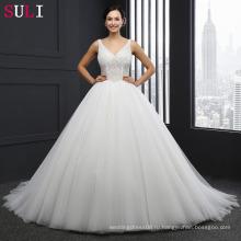 Сл-042 Принцесса свадебное платье V шеи молнии слоновая кость жемчуг Кристалл невесты платья тюль 2016