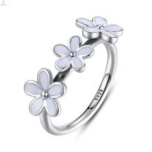 Zirkon S925 Sterling Silber Weiß Emaille Ring, Modeschmuck Silber Emaille Blume Ringe